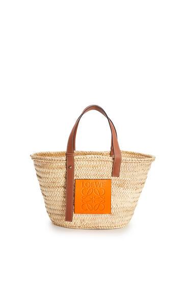 LOEWE Basket Bag In Palm Leaf And Calfskin Natural/Neon Orange pdp_rd