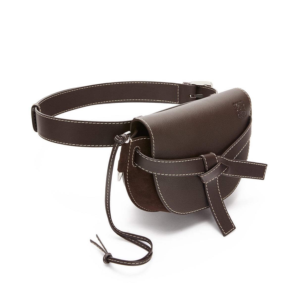 LOEWE Gate Large Bumbag Chocolate Brown front