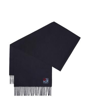 LOEWE 35X170 アナグラム スカーフ ネイビーブルー front