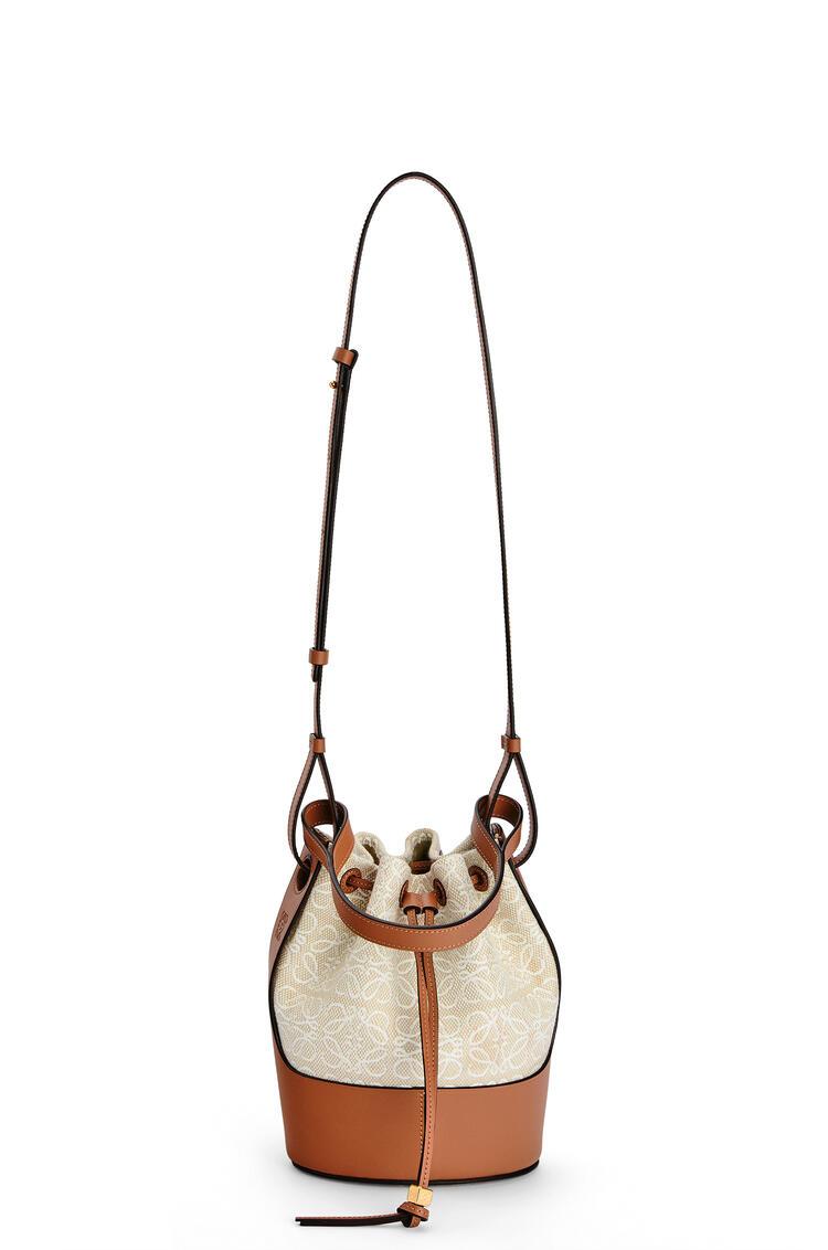 LOEWE Small Balloon bag in Anagram jacquard and calfskin Ecru/Tan pdp_rd