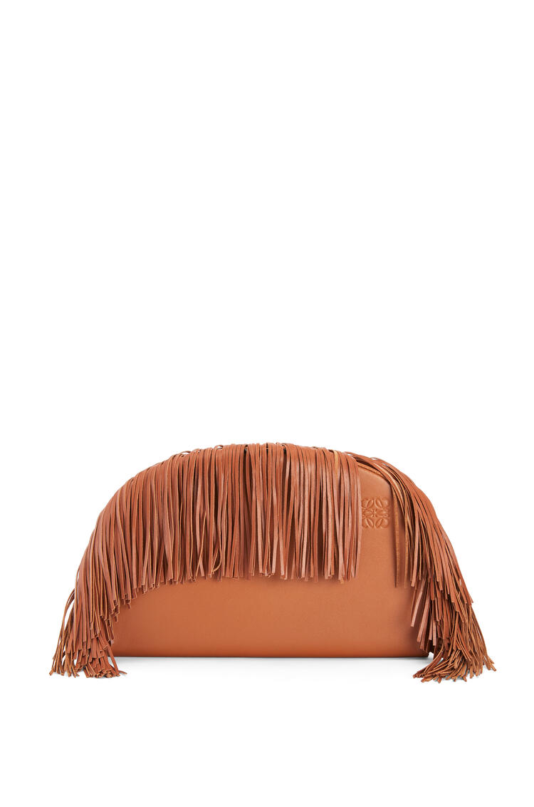 LOEWE Heel clutch fringes bag in soft calfskin Tan pdp_rd