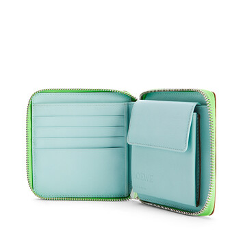 LOEWE Cartera Puzzle Square Zip En Piel De Ternera Clásica Azul Laguna/Arandano front