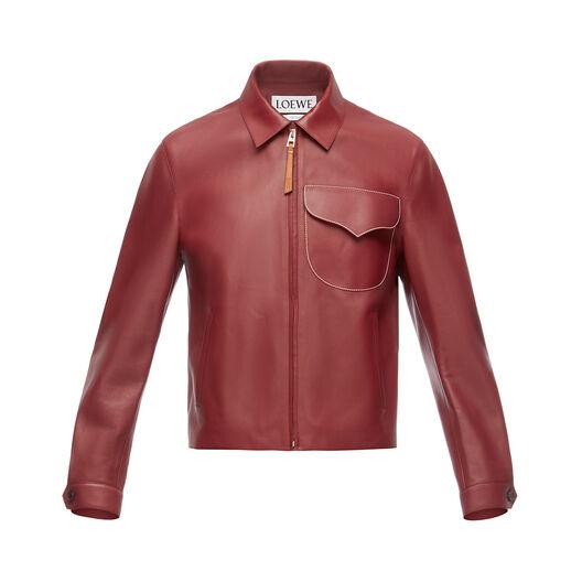 LOEWE Flap Pocket Zip Jacket 酒红色 front