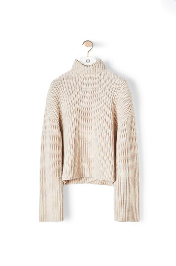 LOEWE Cropped Sweater Pearls Light Beige front
