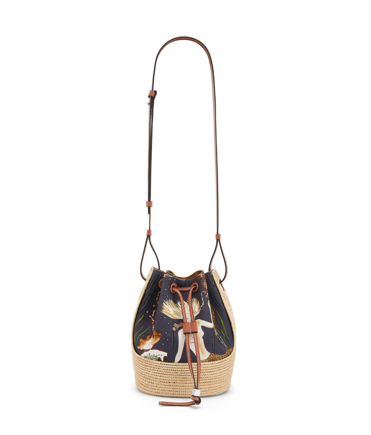 LOEWE Small Balloon Bag In Mermaid Canvas And Raffia Black/Natural front