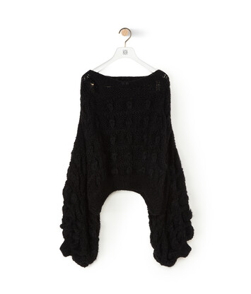 LOEWE Balloon Slv Cable Sweater ブラック front
