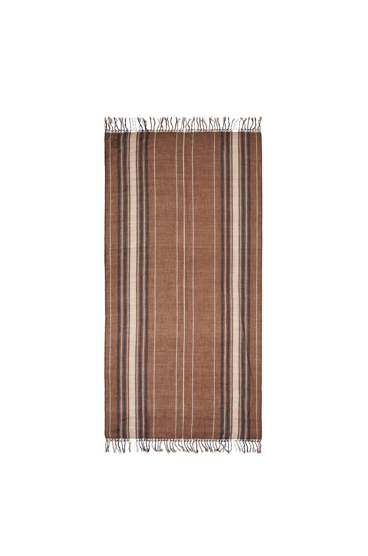 LOEWE Scarf in striped cashmere Chocolate/Camel pdp_rd
