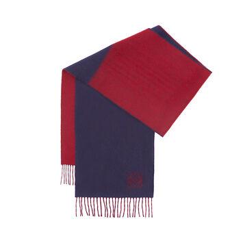 LOEWE 30X180 Window Scarf 蓝色/红色 front