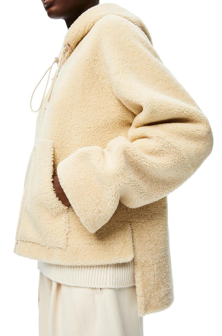 LOEWE Hooded zip jacket in shearling Cream/Blue/Purple pdp_rd