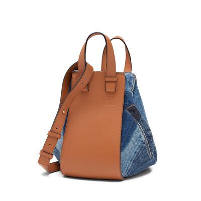 LOEWE Hammock Denim Small Bag Multitone Denim/Tan front