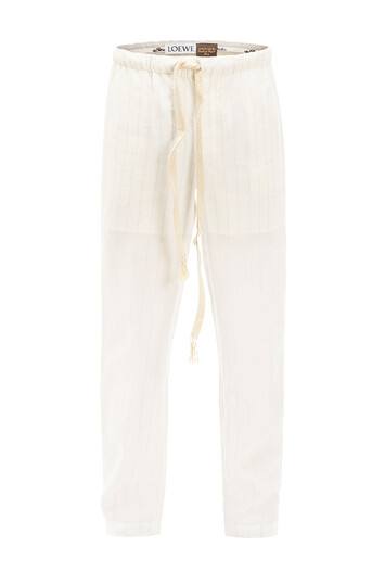 LOEWE Paula Stripe Pyjama Trousers White Ash front