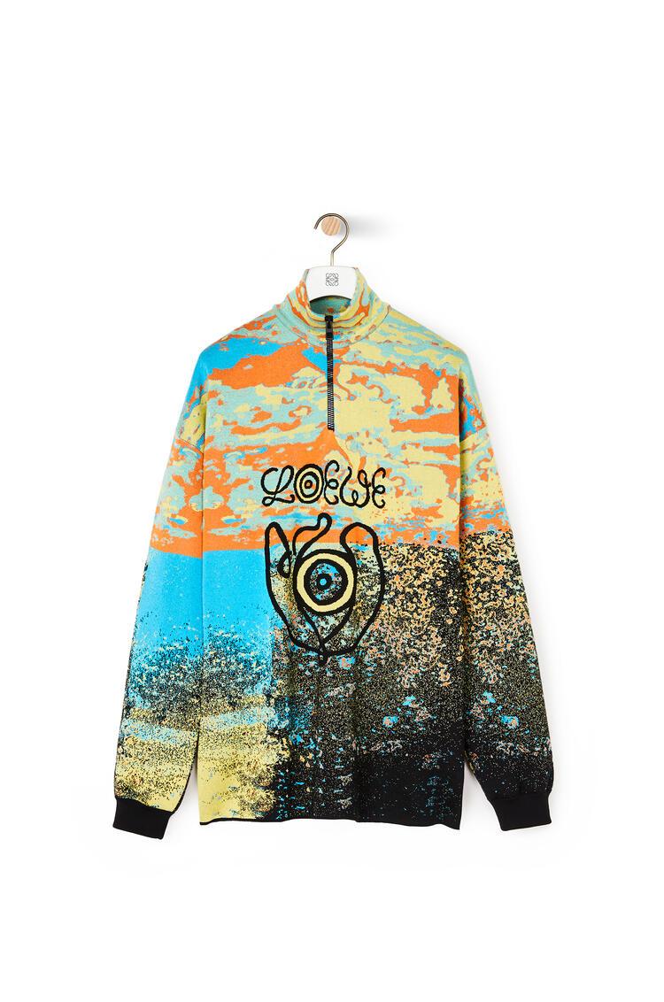 LOEWE High neck zip sweater in wool Blue/Orange pdp_rd