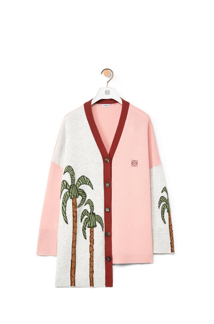 LOEWE La Palme intarsia asymmetric cardigan in wool Pink/Camel pdp_rd