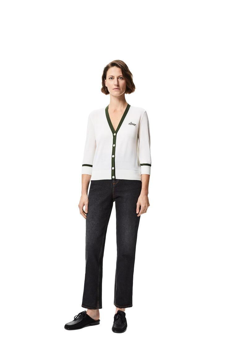 LOEWE LOEWE lurex embroidered cropped cardigan in wool White/Khaki Green pdp_rd