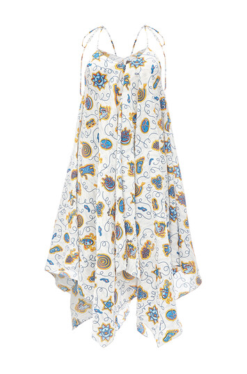LOEWE Paula Print Strappy Dress Blanco/Multicolor front