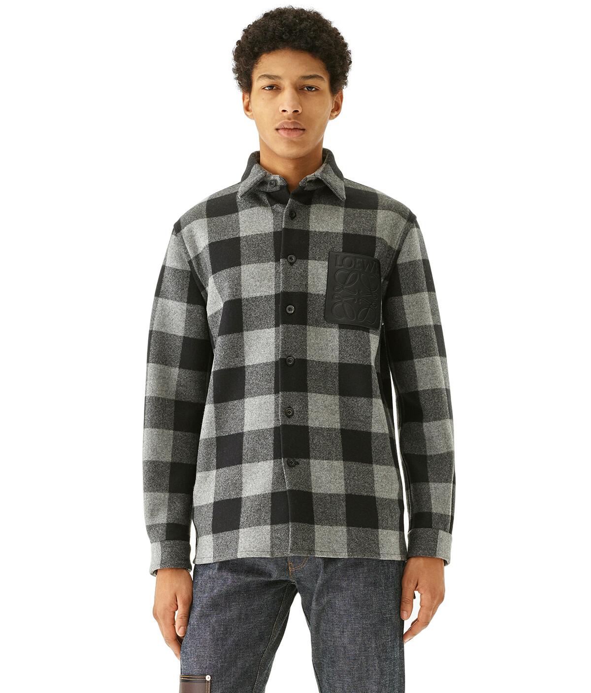LOEWE Check Overshirt Gris/Negro front