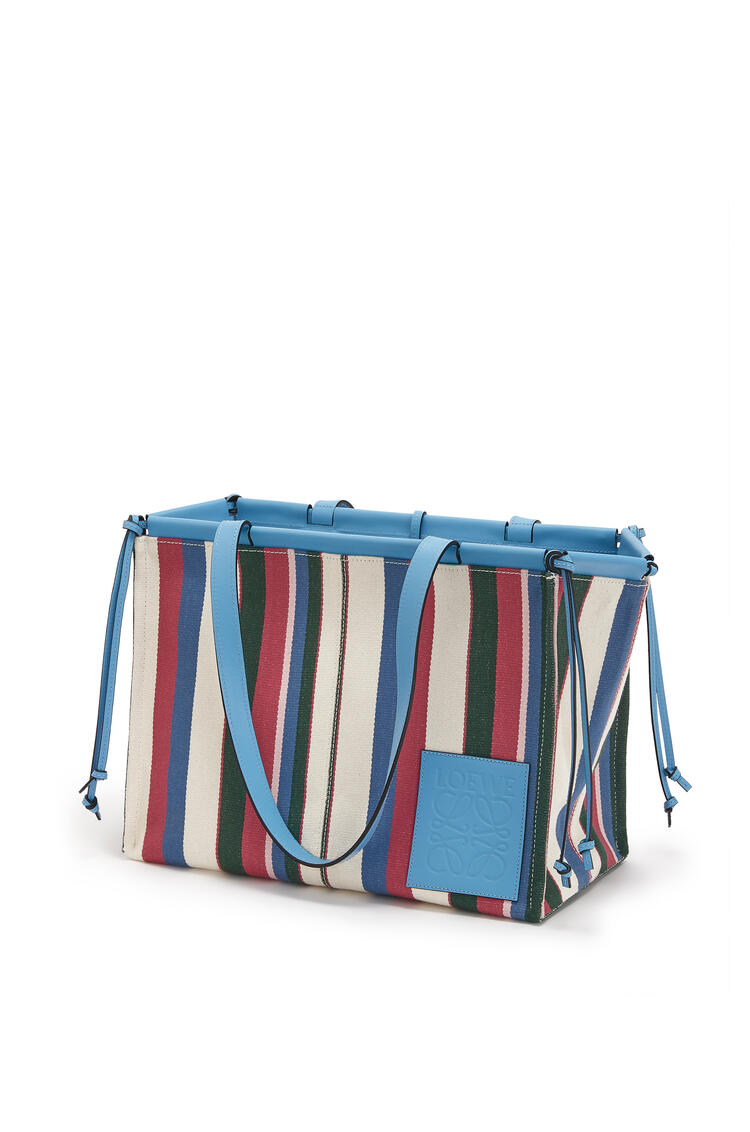 LOEWE Cushion Tote bag in printed canvas and calfskin Sky Blue/Multicolor pdp_rd