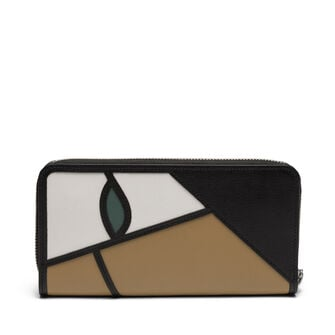 LOEWE Puzzle Zip Around Wallet Roses Mocca/Multicolor front
