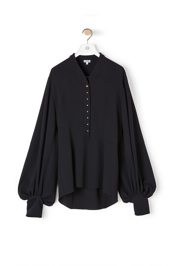 LOEWE Balloon Sleeve Blouse Black/Dark Navy front