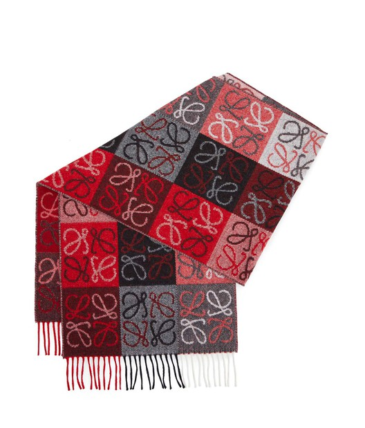 LOEWE 38X180 Scarf Anagram In Lines White/Red front