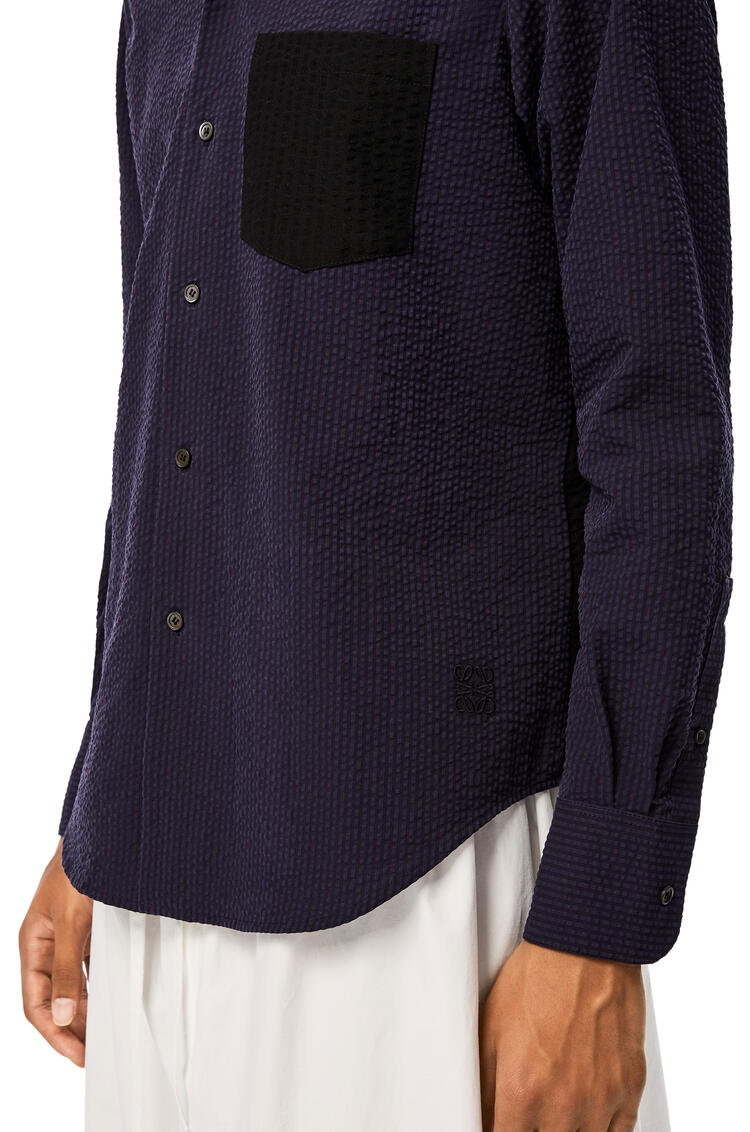 LOEWE Hooded shirt in cotton Navy Blue/Black pdp_rd