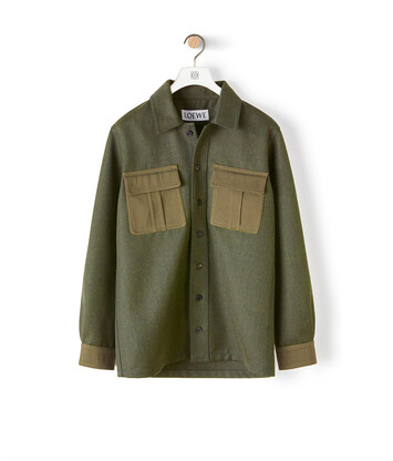 LOEWE Patch Pocket Overshirt Khaki Green front