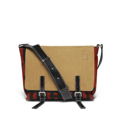 LOEWE ミリタリーメッセンジャーグリッドSバッグ スカーレットレッド/ブラック front