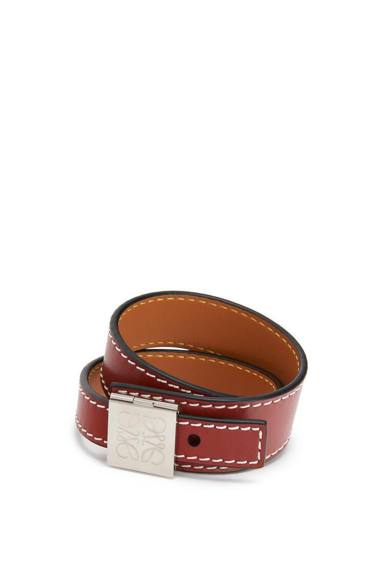 LOEWE Double bracelet in calfskin Wine pdp_rd