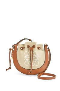 LOEWE Small Horseshoe Anagram bag in jacquard and calfskin Ecru/Tan pdp_rd