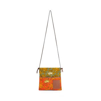 LOEWE Paula's Small Drawstring Pouch Orange/Green front