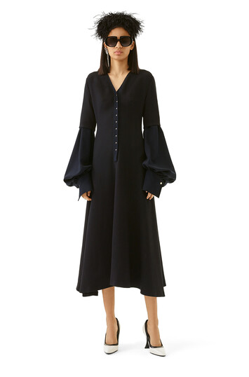 LOEWE Balloon Sleeve Dress Navy Blue front