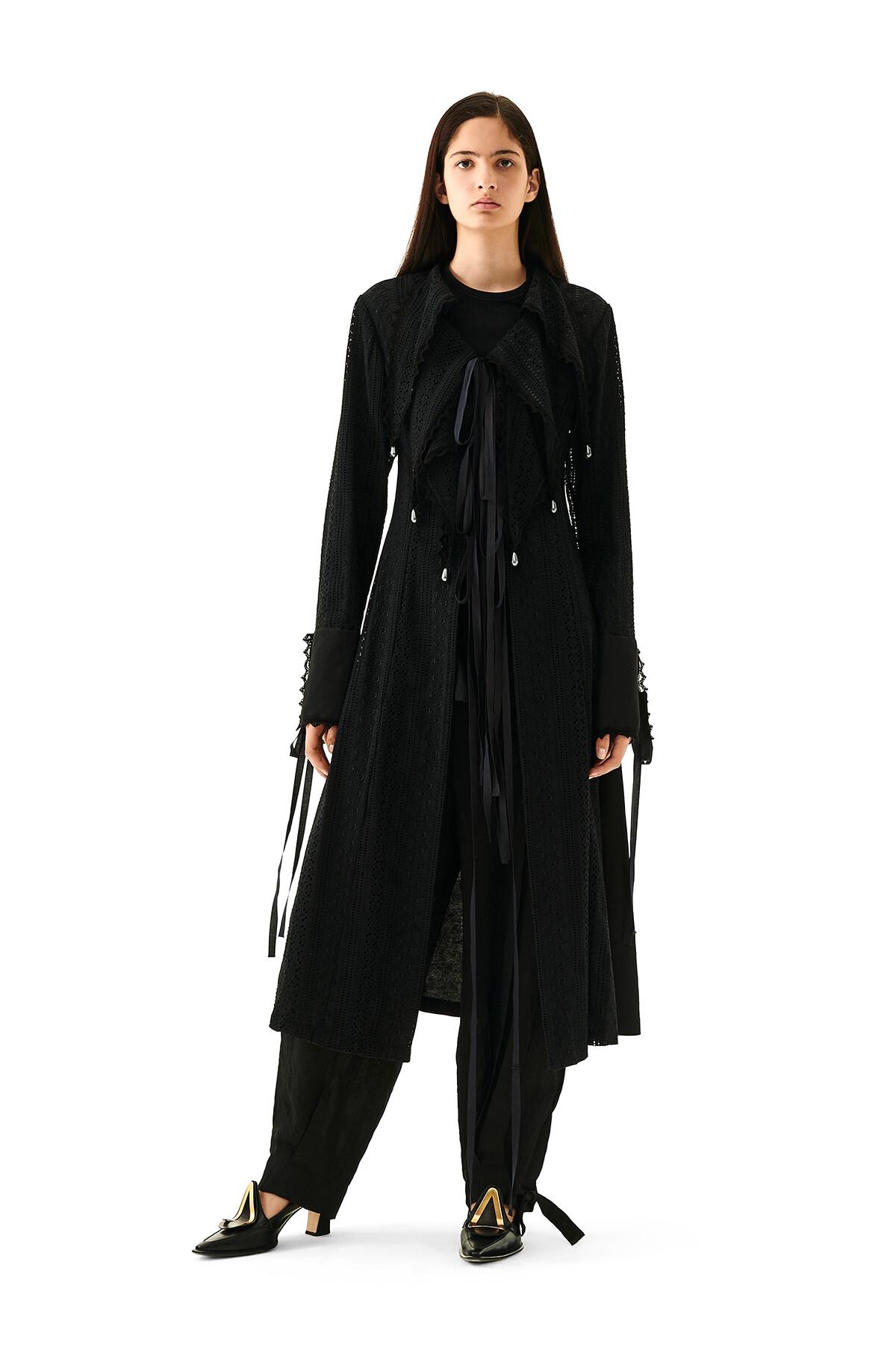 LOEWE Lace Petal Coat Negro front