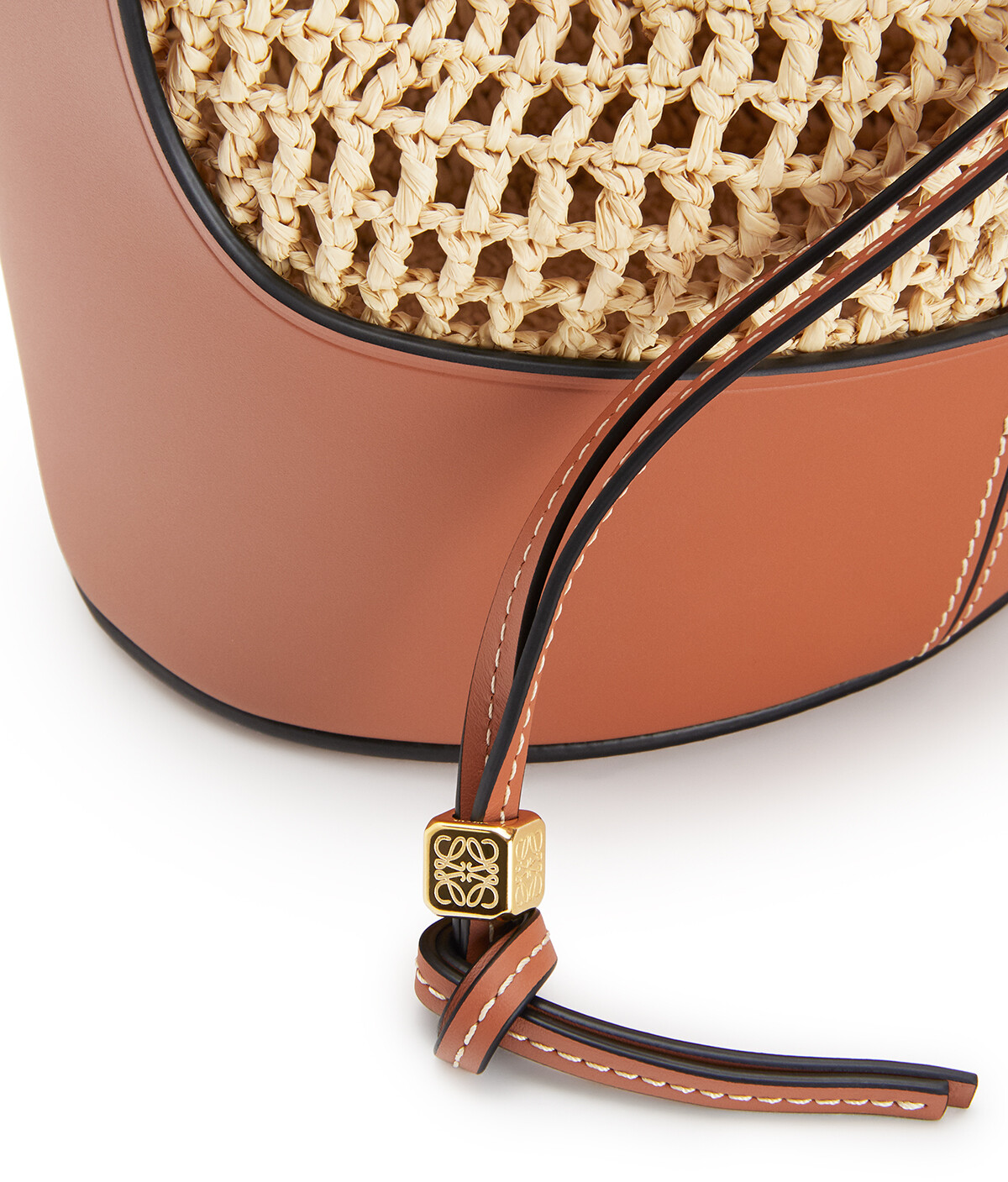 LOEWE Small Balloon Bag In Raffia And Calfskin Natural/Tan front