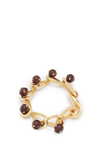 LOEWE Drop chain bracelet in metal and wood Gold/Brown pdp_rd