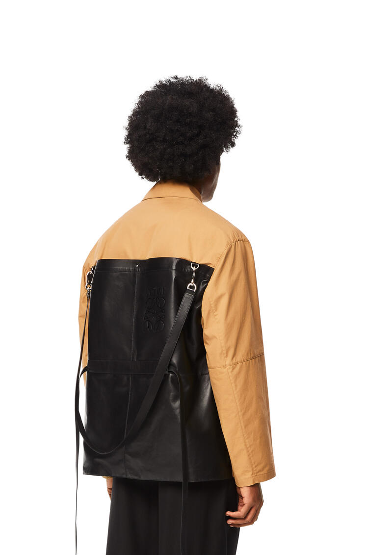 LOEWE Backpack jacket in cotton and leather Beige/Black pdp_rd