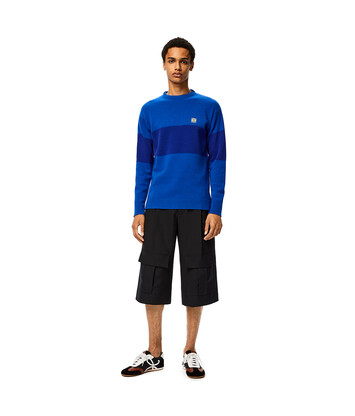 LOEWE Stripe Anagram Sweater blue/electric blue front