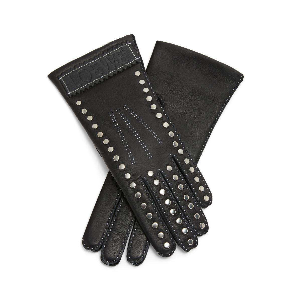 LOEWE Studded Gloves Black front