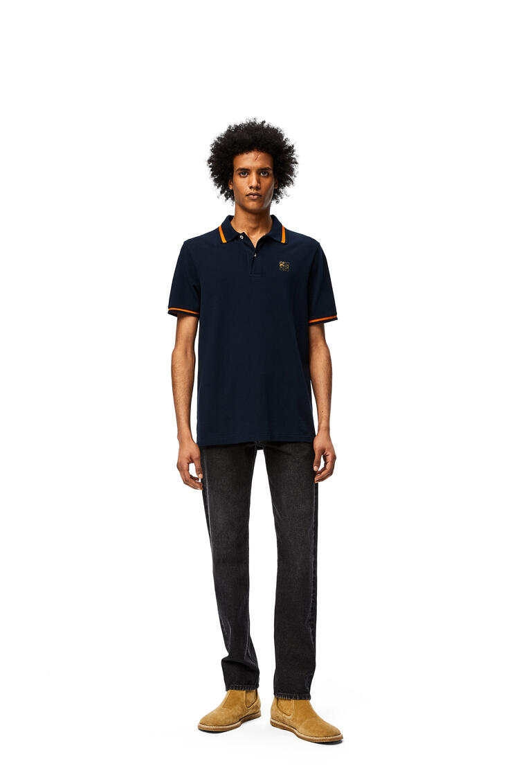 LOEWE Anagram embroidered polo in cotton Navy Blue pdp_rd