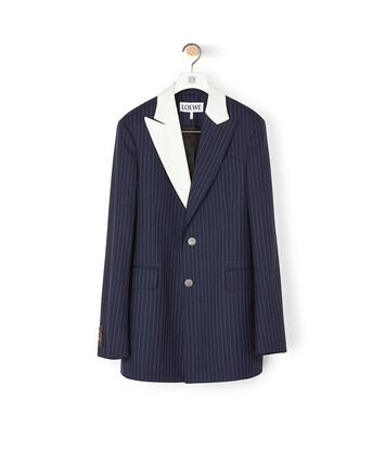 LOEWE 2Bt Tuxedo Stripe Jacket Navy/White front