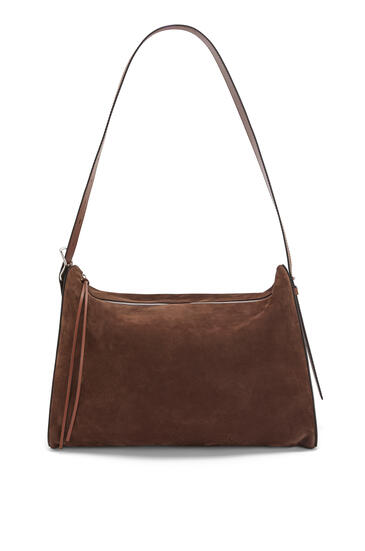 LOEWE Large Berlingo bag in nubuck and calfskin Taupe pdp_rd