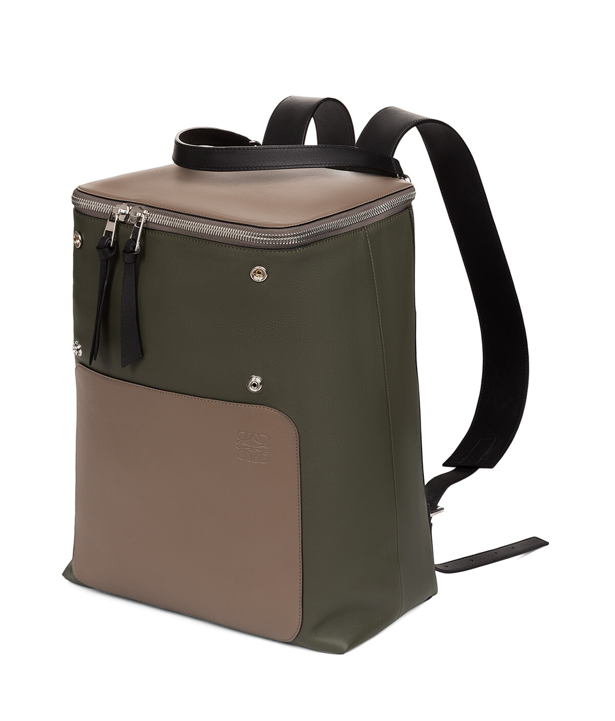 LOEWE ゴヤ バックパック Dark Taupe/Military Green/Bl front