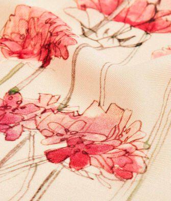 LOEWE 140X140 Scarf Botanical Light Pink/Natural front
