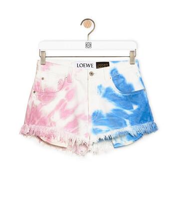 LOEWE Shorts In Tie Dye Cotton Blue/Pink front