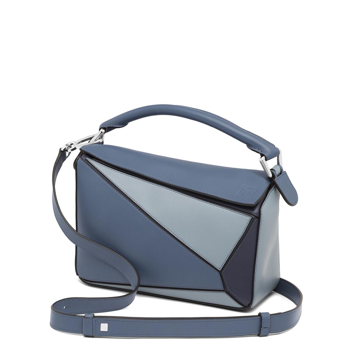 LOEWE Puzzle Small Bag Varsity Blue Multitone front