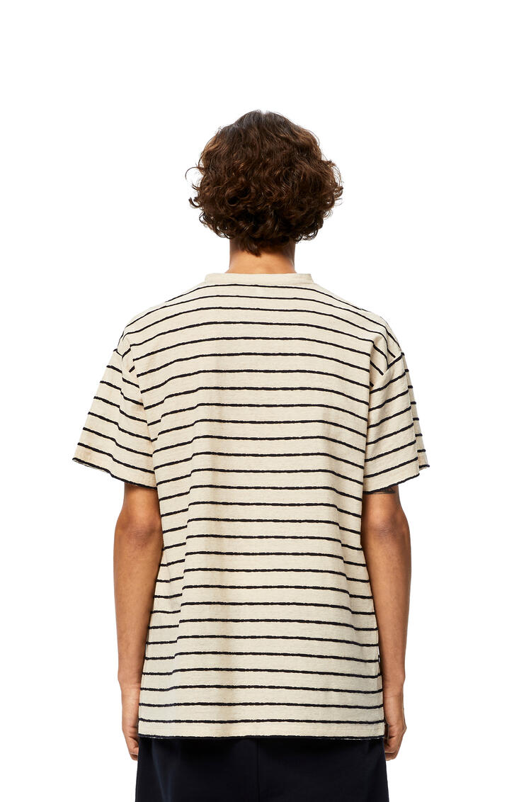 LOEWE Anagram Embroidered T-shirt In Stripe Cotton Ecru/Navy Blue pdp_rd