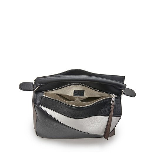 LOEWE Puzzle Small Bag Black/Taupe front