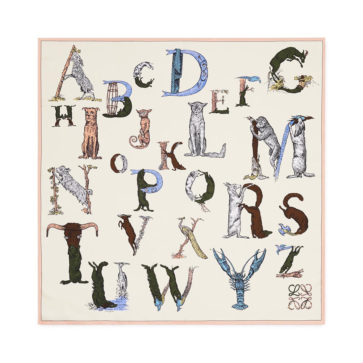 LOEWE 90X90 Scarf Alphabet 粉色 front