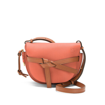 LOEWE Gate Small Bag Pink Tulip/Tan front