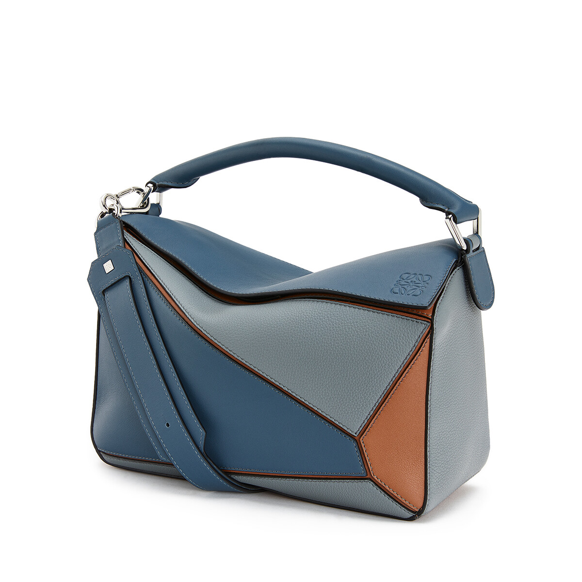 LOEWE Puzzle Bag Steel Blue/Tan front