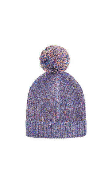 LOEWE Melange knit beanie in cotton Navy Blue pdp_rd